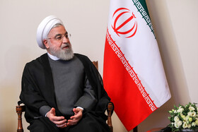 Iranian President Hassan Rouhani is seen in his meeting with Russian President Vladimir Putin on the sidelines of the Eurasian Economic Council's Summit, Yerevan, Armenia, October 1, 2019.