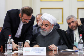 Iranian President Hassan Rouhani is seen at the Eurasian Economic Council's Summit, Yerevan, Armenia, October 1, 2019.