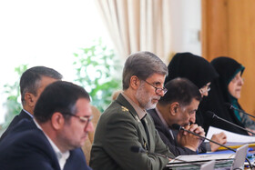 Iranian Defense Minister Brigadier General Amir Hatami (3rd, L) is seen on the sidelines of the session of Iran's cabinet ministers, Tehran, Iran, October 2, 2019.