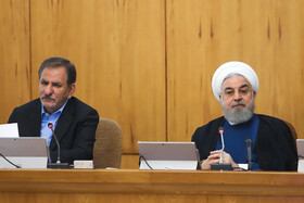 Iranian President Hassan Rouhani (R) and Iranian First-Vice President Es'haq Jahangiri are present in the session of Iran's cabinet ministers, Tehran, Iran, October 2, 2019.