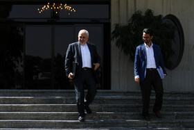 Iranian Foreign Minister Mohammad Javad Zarif (L) is seen on the sidelines of the session of Iran's cabinet ministers, Tehran, Iran, October 2, 2019.