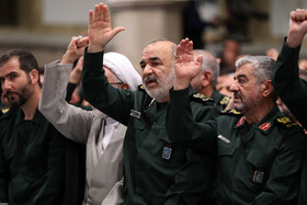 """Major General Hossein Salami, head of the Islamic Revolution Guards Corps (2nd, R), is seen in the meeting between Iran's Supreme Leader Ayatollah Ali Khamenei and the members of the High Council of the Commanders of IRGC, Tehran, Iran, October 2, 2019. In this meeting, the Supreme Leader stressed that the policies of the United States to pressure Iran have miscarried, saying: """"The Americans failed in their Maximum Pressure policy""""."""