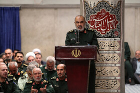 """Major General Hossein Salami, head of the Islamic Revolution Guards Corps (IRGC), delivers a speech during the meeting between Iran's Supreme Leader Ayatollah Ali Khamenei and the members of the High Council of the Commanders of IRGC, Tehran, Iran, October 2, 2019. In this meeting, the Supreme Leader stressed that the policies of the United States to pressure Iran have miscarried, saying: """"The Americans failed in their Maximum Pressure policy""""."""