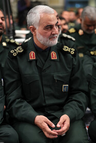 """Major General Qassem Soleimani, Commander of the IRGC Quds Force, is seen in the meeting between Iran's Supreme Leader Ayatollah Ali Khamenei and the members of the High Council of the Commanders of IRGC, Tehran, Iran, October 2, 2019. In this meeting, the Supreme Leader stressed that the policies of the United States to pressure Iran have miscarried, saying: """"The Americans failed in their Maximum Pressure policy""""."""