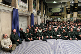"""Meeting between Iran's Supreme Leader Ayatollah Ali Khamenei and the members of the High Council of the Commanders of IRGC, Tehran, Iran, October 2, 2019. In this meeting, the Supreme Leader stressed that the policies of the United States to pressure Iran have miscarried, saying: """"The Americans failed in their Maximum Pressure policy""""."""