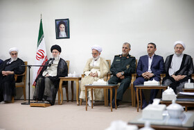 Meeting between Iran's Supreme Leader Ayatollah Ali Khamenei and the staff and personnel of the congress of 6,200 martyrs of Markazi Province, Tehran, Iran, October 3, 2019.
