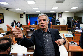 Abbas Iravani, the main shareholder of Ezam Automotive Parts Group, who was charged with the smuggling of automotive parts, is seen in the second court session, Tehran, Iran, October 5, 2019.