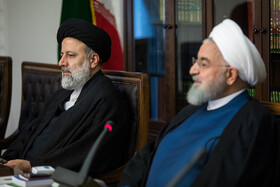 Iranian President Hassan Rouhani (R) and Iran's Judiciary Chief Ebrahim Raeisi are present in the meeting of the Supreme Council of Cyberspace, Tehran, Iran, October 5, 2019.