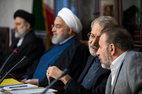 Iranian President Hassan Rouhani (2nd, L), Iran's Judiciary Chief Ebrahim Raeisi (L), Iranian Parliament Speaker Ali Larijani (2nd, R) and Iranian President's Chief of Staff Mahmoud Vaezi are present in the meeting of the Supreme Council of Cyberspace, Tehran, Iran, October 5, 2019.
