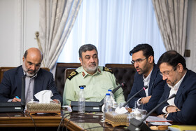 Police Chief Brigadier General Hossein Ashtari (2nd, L) and Minister of Information and Communications Technology Mohammad Javad Azari Jahromi (2nd, R) are present in the meeting of the Supreme Council of Cyberspace, Tehran, Iran, October 5, 2019.
