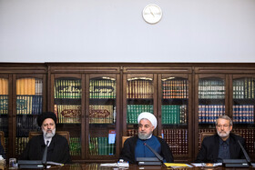 Iranian President Hassan Rouhani (M), Iran's Judiciary Chief Ebrahim Raeisi (L) and Iranian Parliament Speaker Ali Larijani are present in the meeting of the Supreme Council of Cyberspace, Tehran, Iran, October 5, 2019.