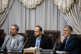Minister of Culture and Islamic Guidance Abbas Salehi (R) is present in the meeting of the Supreme Council of Cyberspace, Tehran, Iran, October 5, 2019.