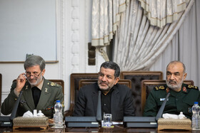 Chief Commander of IRGC Major General Hossein Salami (R) and Defense Minister Brigadier General Amir Hatami (L) are present in the meeting of the Supreme Council of Cyberspace, Tehran, Iran, October 5, 2019.