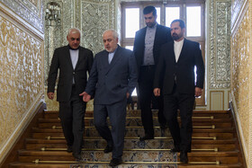 Iranian Foreign Minister Mohammad Javad Zarif (2nd, L) is seen before his meeting with the new Australian ambassador to Iran, Tehran, Iran, October 6, 2019.