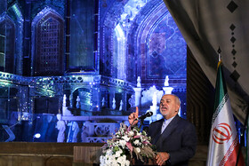 "Iranian Foreign Minister Mohammad Javad Zarif delivers a speech during the ceremony for marking ""Tehran Day"", Tehran, Iran, October 7, 2019.
