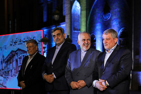 "Iranian Foreign Minister Mohammad Javad Zarif (2nd, R), Tehran Mayor Pirouz Hanachi (2nd, L) and Tehran City Council Chairman Mohsen Hashemi Rafsanjani (R) are present in the ceremony for marking ""Tehran Day"", Tehran, Iran, October 7, 2019.