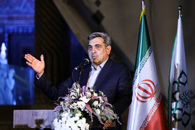 "Tehran Mayor Pirouz Hanachi delivers a speech during the ceremony for marking ""Tehran Day"", Tehran, Iran, October 7, 2019.