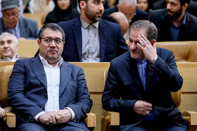 "Minister of Industry, Mining and Trade Reza Rahmani (L) and Iranian First Vice-President Es'haq Jahangiri are seen on the sidelines of the commemoration ceremony of ""World Standards Day"", Tehran, Iran, October 8, 2019."