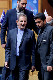 "Iranian First Vice-President Es'haq Jahangiri (L) delivers a speech in the commemoration ceremony of ""World Standards Day"", Tehran, Iran, October 8, 2019."