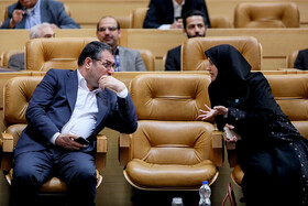 "Minister of Industry, Mining and Trade Reza Rahmani (L) is seen on the sidelines of the commemoration ceremony of ""World Standards Day"", Tehran, Iran, October 8, 2019."