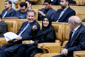 "Iranian First Vice-President Es'haq Jahangiri (L) is seen on the sidelines of the commemoration ceremony of ""World Standards Day"", Tehran, Iran, October 8, 2019."