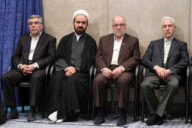 Iranian Minister of Science, Research and Technology, Mansour Gholami (R), is present in the meeting between Iran's Supreme Leader Ayatollah Ali Khamenei and academic elites and top scientific talents, Tehran, Iran, October 9, 2019.