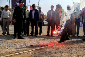 """Seized illicit drugs are destroyed during the """"Police Week"""", Bandar Abbas, Iran, October 9, 2019."""