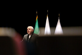 Iranian Foreign Minister Mohammad Javad Zarif delivers a speech during the International Conference on Global Economy and Sanctions at Alzahra University, Tehran, Iran, October 9, 2019.
