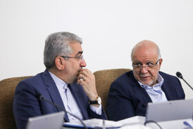 Energy Minister Reza Ardakanian (L) and Oil Minister Bijan Zanganeh are present in the session of Iran's cabinet ministers, Tehran, Iran, October 9, 2019.