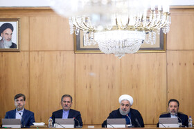 Iranian President Hassan Rouhani (2nd, R), Iranian First Vice-President Es'haq Jahangiri (2nd, L) and Iranian President's Chief of Staff Mahmoud Vaezi (R) are present in the session of Iran's cabinet ministers, Tehran, Iran, October 9, 2019.