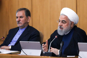 Iranian President Hassan Rouhani (R) and Iranian First Vice-President Es'haq Jahangiri are present in the session of Iran's cabinet ministers, Tehran, Iran, October 9, 2019.