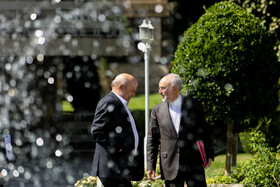 Head of Iran's Atomic Energy Organization Ali Akbar Salehi (R) is seen on the sidelines of the session of Iran's cabinet ministers, Tehran, Iran, October 9, 2019.