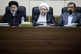 Chairman of Iran's Expediency Discernment Council Ayatollah Sadeq Amoli Larijani (M), Iran's Judiciary Chief Ebrahim Raeisi (L) and Secretary of Iran's Expediency Discernment Council Mohsen Rezaei are present in the session of Expediency Discernment Council, Tehran, Iran, October 9, 2019.