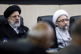 Chairman of Iran's Expediency Discernment Council Ayatollah Sadeq Amoli Larijani (R) and Iran's Judiciary Chief Ebrahim Raeisi are present in the session of Expediency Discernment Council, Tehran, Iran, October 9, 2019.
