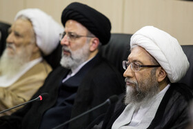 Chairman of Iran's Expediency Discernment Council Ayatollah Sadeq Amoli Larijani (R) and Iran's Judiciary Chief Ebrahim Raeisi (M) are present in the session of Expediency Discernment Council, Tehran, Iran, October 9, 2019.