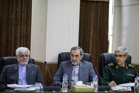 ‌Chief of staff of the Iranian Armed Forces Major General Mohammad Hossein Bagheri (R) and Iranian politicians Ali Akbar Velayati (M) and Mohammad Reza Aref are present in the session of Iran's Expediency Discernment Council, Tehran, Iran, October 9, 2019.