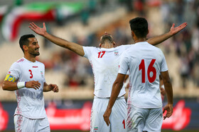 The football match between Iran men's national football team and Cambodia, Tehran, Iran, October 10, 2019. Iran trounced Cambodia 14-0 in this match.