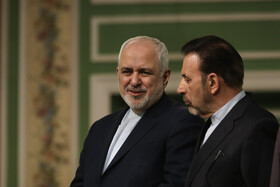 Iranian Foreign Minister Mohammad Javad Zarif (L) and Iranian president's Chief of Staff Mahmoud Vaezi are present during a joint press conference between Iranian President Hassan Rouhani and Pakistani Prime Minster Imran Khan, Tehran, Iran, October 13, 2019.