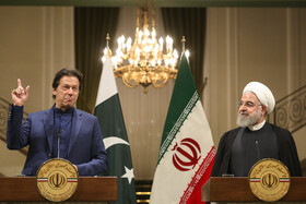 A joint press conference between Iranian President Hassan Rouhani and Pakistani Prime Minister Imran Khan is held at Sa'dabad Cultural-Historical Complex, Tehran, Iran, October 13, 2019.