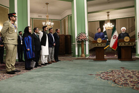 The Pakistani delegation (L) is seen during a joint press conference between Iranian President Hassan Rouhani and Pakistani Prime Minister Imran Khan, Tehran, Iran, October 13, 2019.