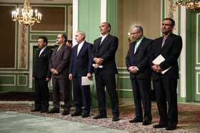 Iranian officials are seen during a joint press conference between Iranian President Hassan Rouhani and Pakistani Prime Minister Imran Khan, Tehran, Iran, October 13, 2019.