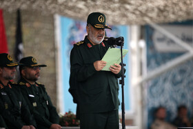 IRGC Commander Major General Hossein Salami delivers a speech during the graduation ceremony for the student officers and guards trainees at Imam Hussain (PBUH) held in the presence of Iran's Supreme Leader Ayatollah Ali Khamenei, Tehran, Iran, October 13, 2019.