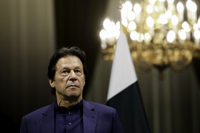 Pakistani Prime Minister Imran Khan is seen during his joint press conference with Iranian President Hassan Rouhani, Tehran, Iran, October 13, 2019.