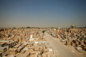 """Wadi-us-Salaam Cemetery is seen in the photo, Tehran, Iran, October 14, 2019. Many important Shiite Muslims have been buried in Wadi-us-Salaam Cemetery and 50,000 people are buried at this burial site every year. Wadi-us-Salaam means """"Valley of Peace""""."""