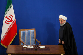 Iranian President Hassan Rouhani attends a press conference with domestic and foreign media, Tehran, Iran, October 14, 2019. Mr Rouhani answered questions of correspondents concerning the most important issues and the Islamic Republic of Iran's stances on regional and international issues.