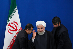 Iranian President Hassan Rouhani (M) attends a press conference with domestic and foreign media, Tehran, Iran, October 14, 2019. Mr Rouhani answered questions of correspondents concerning the most important issues and the Islamic Republic of Iran's stances on regional and international issues.