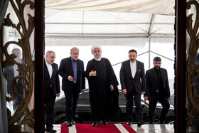 Iranian President Hassan Rouhani (M) is seen before attending the opening ceremony of the 66th Session of the WHO Regional Committee for the Eastern Mediterranean, Tehran, Iran, October 15, 2019. Health Ministers and high-level representatives from the 22 countries and territories of the WHO Eastern Mediterranean Region have taken part in the 66th edition of the Session, which will continue until 17 October in Tehran.