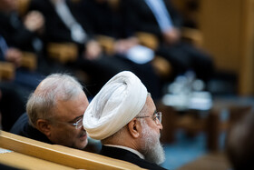 Iranian President Hassan Rouhani (R) is seen on the sidelines of the opening ceremony of the 66th Session of the WHO Regional Committee for the Eastern Mediterranean, Tehran, Iran, October 15, 2019. Health Ministers and high-level representatives from the 22 countries and territories of the WHO Eastern Mediterranean Region have taken part in the 66th edition of the Session, which will continue until 17 October in Tehran.