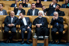 Iranian President Hassan Rouhani (2nd, R) is seen on the sidelines of the opening ceremony of the 66th Session of the WHO Regional Committee for the Eastern Mediterranean, Tehran, Iran, October 15, 2019. Health Ministers and high-level representatives from the 22 countries and territories of the WHO Eastern Mediterranean Region have taken part in the 66th edition of the Session, which will continue until 17 October in Tehran.