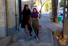 Nosrat (R), a blind woman, is seen in the photo, Iran, October 15, 2019.